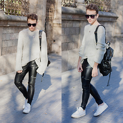Jorge Barceló - Zara Leather Pants, Pull & Bear Knit Sweater, Adidas Sneakers, Zara Backpack, Urban Outfitters Necklace, Asos Sunglasses - LEATHER @ WWW.JUICYGUILE.COM