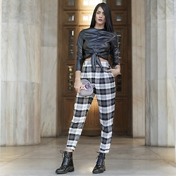 Konstantina Tzagaraki - Leather Top, Pants, Moschino Purse, Booties - Where does one runs to escape from feelings?..