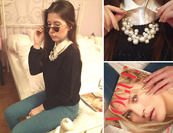 Angela M - Clarie`S Pearls, Ray Ban Ray Bans, Bershka High Waisted Blue Jeans - The 90`s child