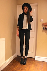 Laurel Elizabeth - River Island Wide Brim Hat, Oasis Blazer, New Look Black Chiffon Shirt, H&M Grey Jumper, H&M High Waist Skinny Jeans, Topshop Frilly Socks, Bebo Lace Up Shoe Boots - Only Time Can Tell