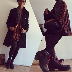 Viona Wambui - Mexx Coat, Urban Outfitters Cardigan, Aldo Shoes, H&M Shirt Dress - All grunge everything