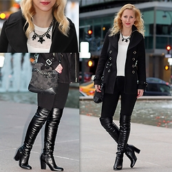 Megan Knight - Coach Black Bag, Guess? Over The Knee Boots, Guess? Black Coat, Suzy Shier Black Statement Necklace, Express White Mesh Sweater - B&W
