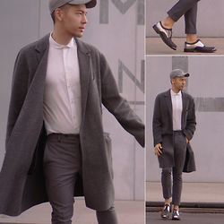 Lucca - Louis Vuitton Metal And Leather Shoes, H&M Wool Grey Pants, Topman White Button Up, Vince Unlined Wool/Cashmere Coat, Zara Grey Wool Cap - Is it Grey or Gray?