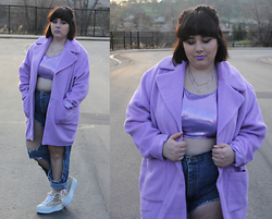Sabrina - Missguided Lavender Coat, American Apparel Crop Top, Forever 21 Geometric Necklace, Diy Ripped Denim, Unif Koop, Limecrime D'lilac + Airborne Unicorn - The Future of Retro
