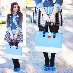 Carly Maddox - Nila Anthony Blue Colorblock Bag - Bold in Blue