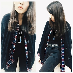 Joyce Tse - Checked Shirt From My Dad, Black Bomber Jacket, Pieces Black Tight Jeans, Forever 21 Necklace - OOTD - It's all about layers