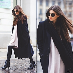 Larisa Costea - Frontrowshop Sweater Dress, Sheinside Scarf, Jessica Buurman Boots, Little Mistress Leggings - His coat