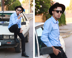 Ahmed Imoudrog - Choies Black Hat, Zara Shirt - Old Car