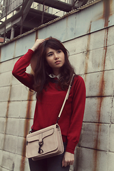 Aki Ataka - Earth Music & Ecology Red Jumper, Rebecca Minkoff Bowery Crossbody, Topshop Matt Black Metal Necklace, Monki Karina Hat - It's in the details (2)