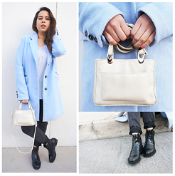 Nelly Ojeda - Bershka Baby Blue Coat, First Issue By Liz Claiborne Vintage Bah, Zara Chelsea Boots, Bershka Gray T.Shirt, Bershka Jeggings - Blue Valentine