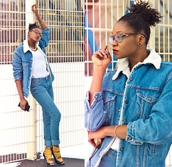Melody Jacob - Levi's® Denim Jacket, Firmoo Glasses, Boohoo Heels, New Look Jeans, Rings And Tings Bangle - DENIM ON DENIM WITH FIRMOO