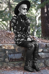 Raissa Palacios - Eye Sweater, Buffalo Exchange Eye Scarf, Blink Over The Knee Boots - Stone