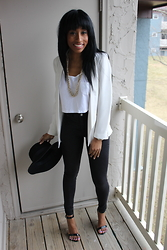 Lauren Dionne - H&M Black High Waist Jeans, Topshop Blazer, Forever 21 Wide Brim Hat, American Eagle Outfitters Crop Top, Steve Madden Strappy Sandals - Just Black and White