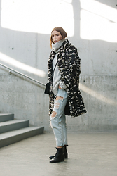 Ania B - Jocelyn Fur Coat, Club Monaco Sweater, One Teaspoon Jeans, John Fluevog Boots - Blending in