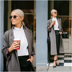 Dannon K Collard - Asos High Neck Sleeveless Top, Goodwill Oversized Long Wool Coat, Asos Leather Midi Skirt, Steve Madden Marlenee Ankle Straps - Olsen Inspired