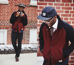 Andy Jackson - Lifetime Collective Suede And Wool Jacket, Bostonian Cherry Brown Loafers, Nike 5 Panel Cap, Lookmatic Clear Specs - Nike Classics