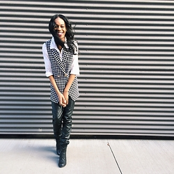 Alysha J - Sirens Houndstooth Vest, H&M White Blouse, H&M Leather Pants, Call It Spring Madray Lace Up Booties - Fancy