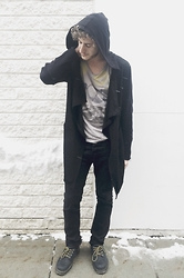 "Alex Cohen - Forever 21 Black Drape Cardigan, Heritage1981 Men ""Shades"" Graphic Tee, Hollister Co Black Denim, Dr. Martens Doctor Marten's Lowtop Boots - Winter Witchery"