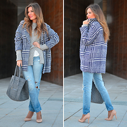 Helena Cueva - Fashion Pills Coat, Zara Jeans - Rose Harper Blue Coat