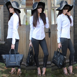 Victoria Rose - H&M Floppy Wool Hat, Sylvie Quentin Shirt, H&M Quilted Leather Jeans, Office Shoes Leopard Courts - Sylvie Quentin