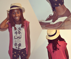 Viona Wambui - Mexx Cardigan, Forever 21 Oxfords - Bows and fedoras