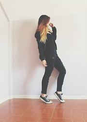 Katrina Doloricon - Cotton On Black Round Neck Jacket, Forever 21 Black Cami, Black Distressed Jeans, Converse Black Sneakers - Black is the new black