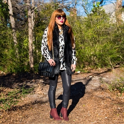 Alyssa Magallanes - Target Sunglasses, W118 Walter Baker Faux Fur Vest, Missguided Leopard Blouse, Movida Necklace, Big Buddha Purse, Armani Exchange Leather Leggings, H&M Booties - Animal Instinct