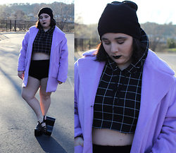 Sabrina - Kimchi Blue Fuzzy Shorts, Unif Hella Jellies, American Apparel Grid Sweater, Missguided Lavender Coat, Forever 21 Beanie - Sing For Absolution