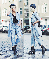 Mikuta - Gina Tricot Trench, Levi's® Jeans, Depeche Boots, Maravillas Bag, Mango Hat - Light blue sunday