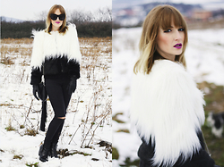 Chloe From The Woods - Choies Faux Fur Coat, Zerouv Cat Eye Sunglasses, H&M Fringe Bag - Fluffy Sunday