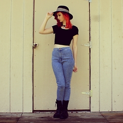 "Michelle Blue - Gypsy Warrior Fedora, Pacsun Cropped T Shirt, Pacsun High Waisted Skinny Jeans, Banana Bay Combat Boots - ""Like Causes Without Rebels"""