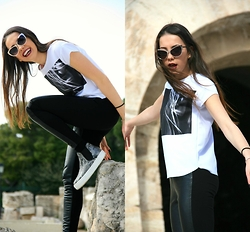 Blertina Shabani - Bershka Top, Marks And Spencer Leather Leggings, Tsakiris Mallas Python Slip Ons, Bershka Sunnies - Acropolis, Athens