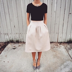 Kacie H. - Forever 21 Maroon Velvet Crop Top, H&M Knee Length Flared Skirt, Zara Asymmetrical Pointed Heels - Goin' Out