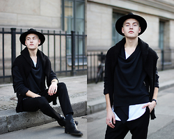 Patrick Pankalla - Cheap Monday Black Knit, Cedric Jacquemyn Jacket, Stroem T Shirt, Weekday Trousers, Brett & Sons Chelsea Boots, H&M Fedora Hat - BODESTRASSE