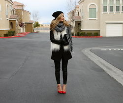 Lindsey Simon - H&M Vest, Penny Loves Kenny Red Shoes, Sheinside Leather Sleeves Coat, H&M Scarf - Desert Cold