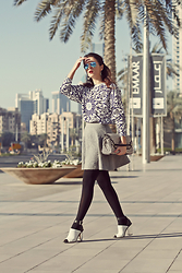 Susanna Vesna - Ray Ban Blue Mirror Aviators, Romwe Ceramic Print Sweater, Gap Grey Skirt With Engraving, Marla London Chess Bag, Wittner Leather Shoes With Mirror Heels - Don't Hope Too Early, Don't Give Up Too Easy
