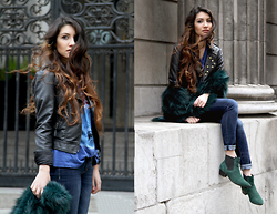 Anoushka P - Bershka Leather Jacket, Debenhams Green Fur, Abercrombie And Fitch Jeans, Topshop Green Boots - Rock n Roll