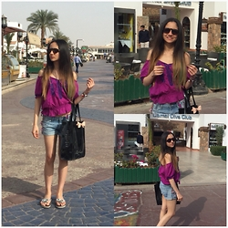 Amani Ghareeb - Chanel Sunglasses, Forever 21 Top, H&M Shorts, Bcbg Flats, Ted Baker Bag - Lavender