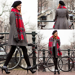 Sonja Vogel - Primark Reversible Scarf, H&M Grey Coat, H&M Striped Top, Levi's® High Waisted Skinny Jeans, Hema Houndstooth Socks, Van Haren Heeled Brogues, We Studded Leather Gloves, From Paris Beret - Foggy in Amsterdam