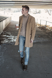 Andrew Eirich - Club Monaco Wool Overcoat, All Saints Cashmere Turtleneck, Nudie Jeans Destroyed Denim, Zara Leather Boots - Subzero.