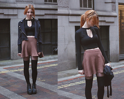 Hannah Louise - Missguided Faux Suede Jacket, Asos Thigh High Socks, Spy Love Buy Boots, Motel Cut Out Top, American Apparel Skirt - Through the Keyhole