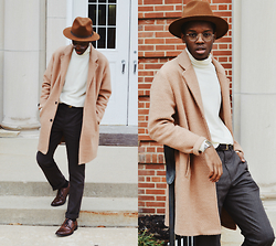 Andy Jackson - Gmarket Camel Coat, Asos Brown Trousers, Apt. 9 Brown Shoes, Uniqlo Cream Wool Merino Turtleneck - Neutral Life