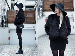 MONIKA S - Oversized Fedora Hat, Faux Fur, Mini Turtleneck Dress, Leather Ankle Boots, Purse - BEFORE THE SUNRISE (DIXON RMX)