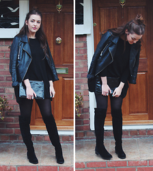 Layla Panam - Label Lab Leather Jacket, H&M Jumper Dress, Style Edit Suede Over The Knee Boots - OVER THE KNEE #OOTD