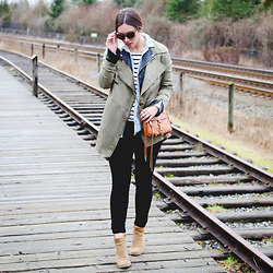 Alexandra G. - Gentle Fawn Utility Coat, Walter Baker Leather Jacket, Old Navy Chambray Shirt, Gentle Fawn Striped Top, Hudson Skinny Jeans, Rebecca Minkoff Cross Body Bag - Triple Layered