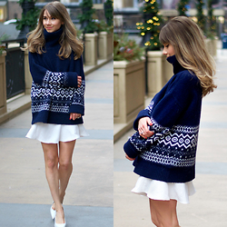 Megan Jedlinski - Zara Navy Turtleneck, Akira Fluted Skirt - Winter Whites and Wool