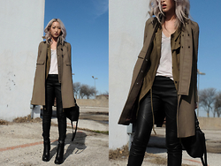 Huyen T - Acne Studios Coat, H&M Parka, Theory V Neck, Rag & Bone Leather Legging, Rick Owens Bootie - Easy