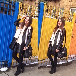 Mariam Argvliani - H&M Boots, H&M Knitted Sweater, Pull & Bear Bag, Forever 21 Leather Skirt - Welcome to my colorful world <3