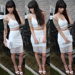 Victoria Rose - Veda Dolls Crop, Veda Dolls Skirt, Public Desire White Court Heels - Veda Dolls