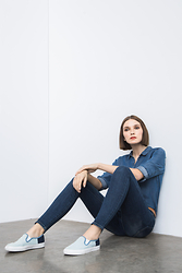 Ania B - Gap Tencel Denim Shirt, Gap Resolution True Skinny Jean, Gap Slip On Sneakers - Resolution denim